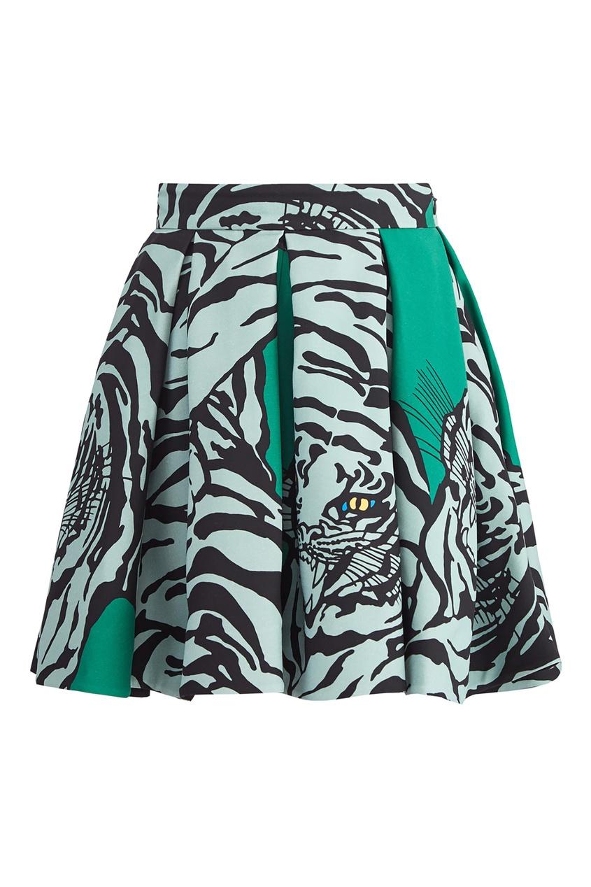 Зеленая мини-юбка с принтом