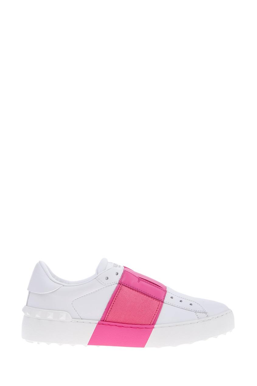 Купить со скидкой Бело-розовые кроссовки Garavani Open