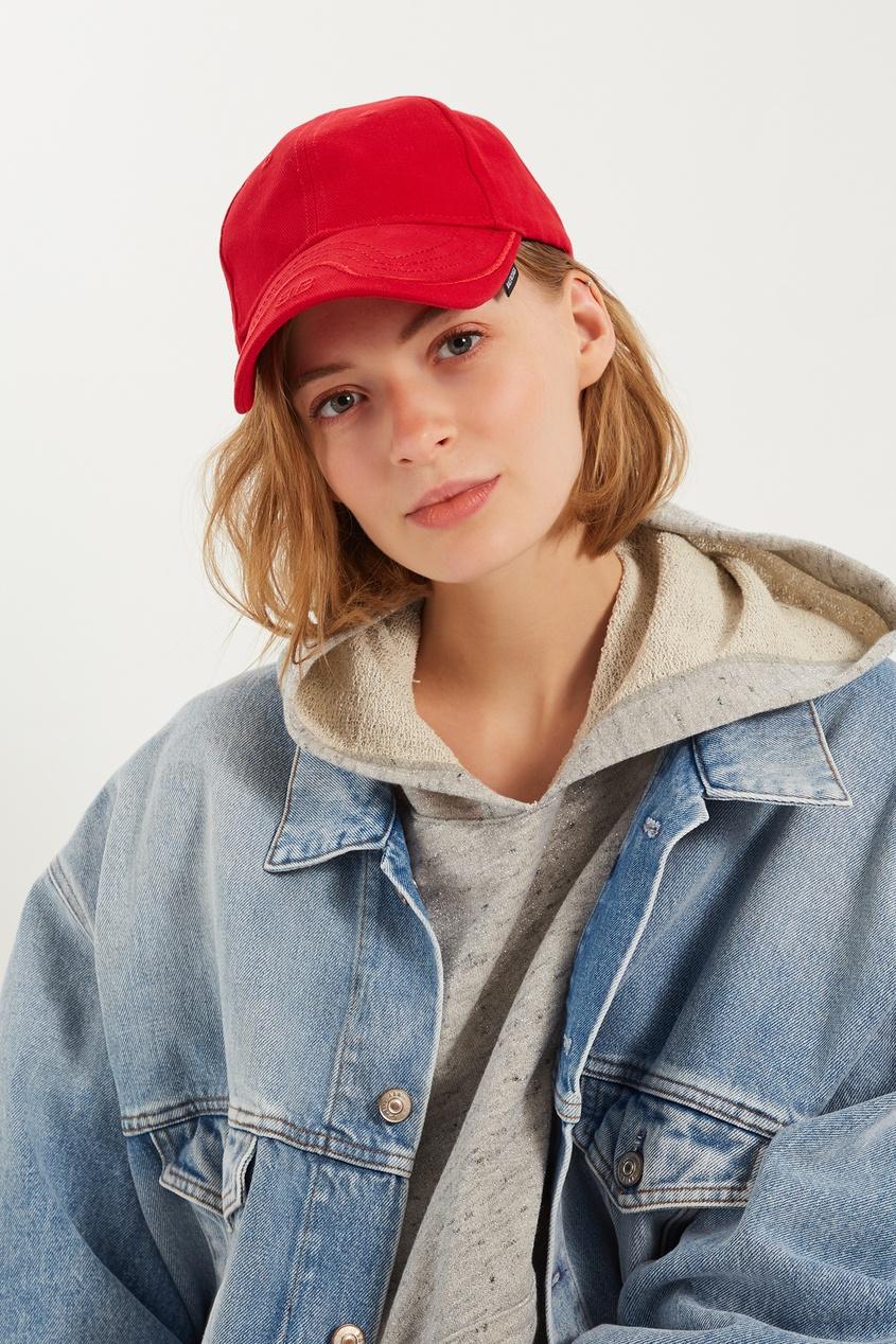 женская кепка balenciaga, красная