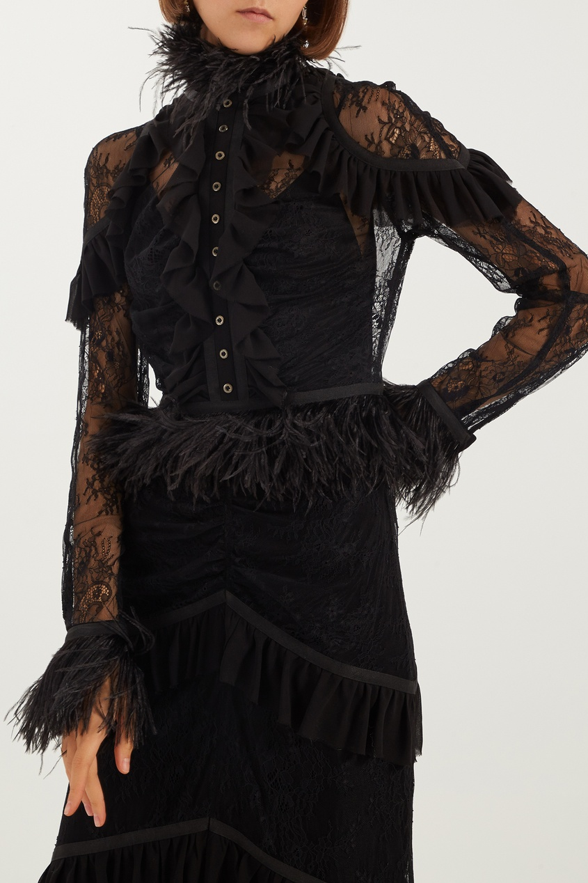 Фото 3 - Черное платье с кружевом и оборками черного цвета