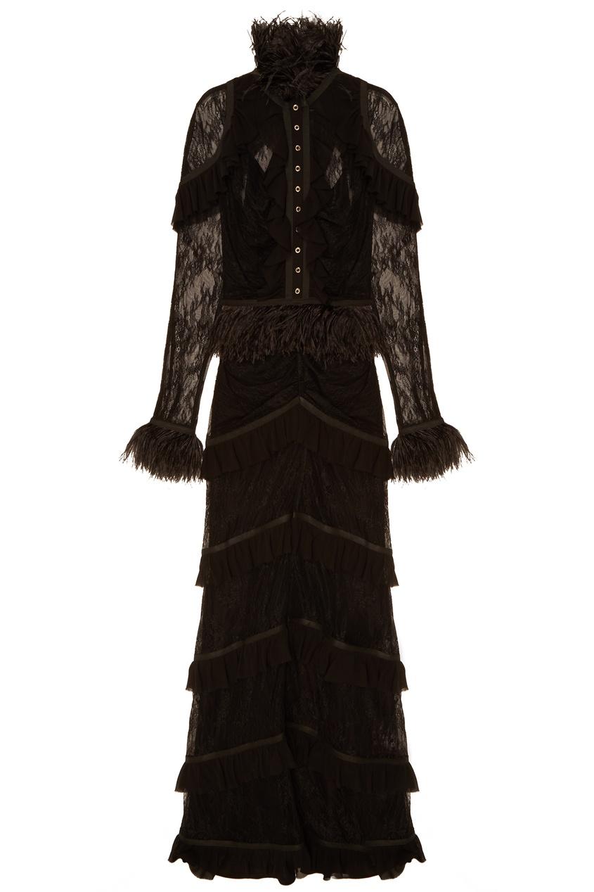Фото - Черное платье с кружевом и оборками черного цвета