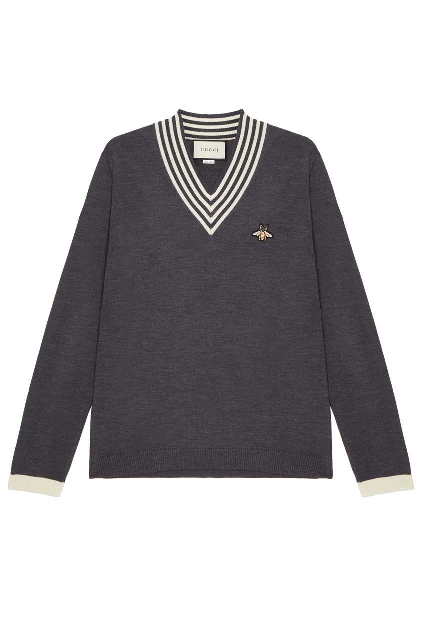 мужской пуловер gucci man, серый