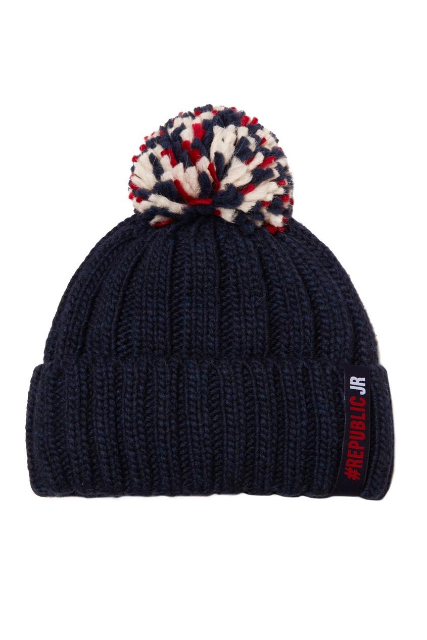 Синяя шапка с помпоном от Junior Republic