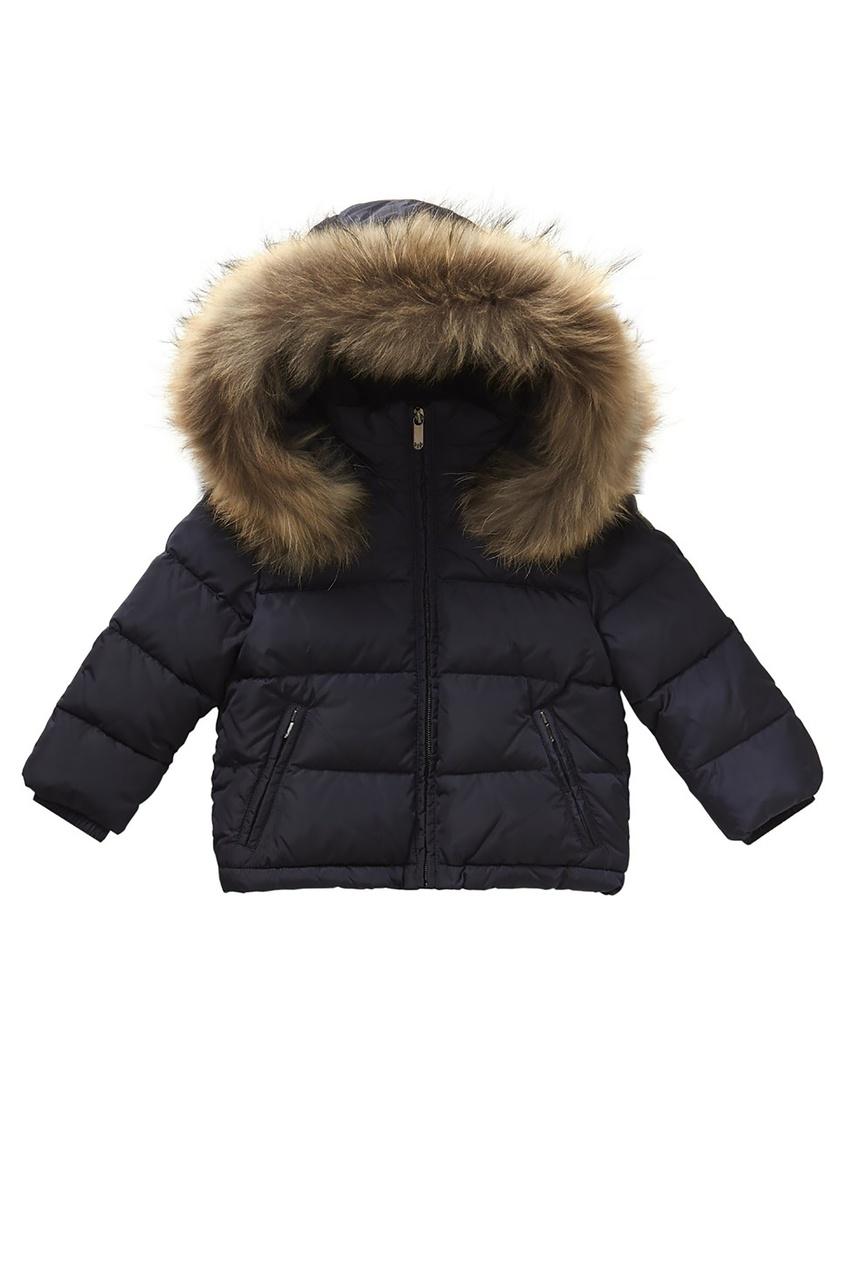Черная куртка с меховой отделкой