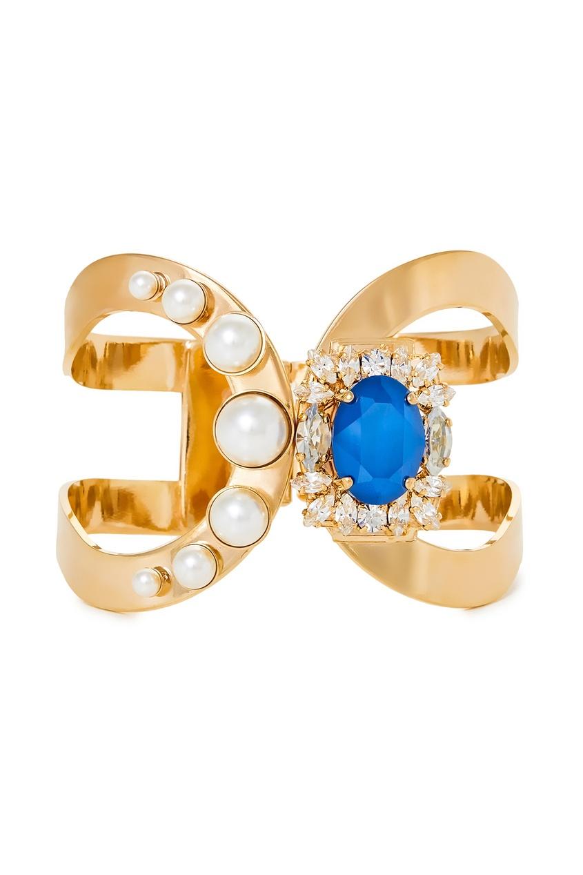 Золотистый браслет с жемчужинами и кристаллами от Anton Heunis
