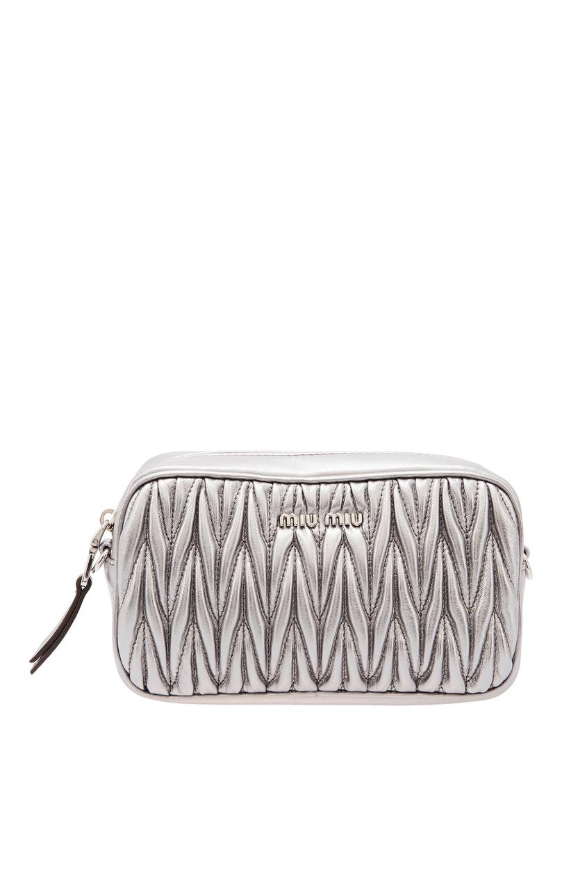 Серебристая сумочка с плетеным узором Miu Miu