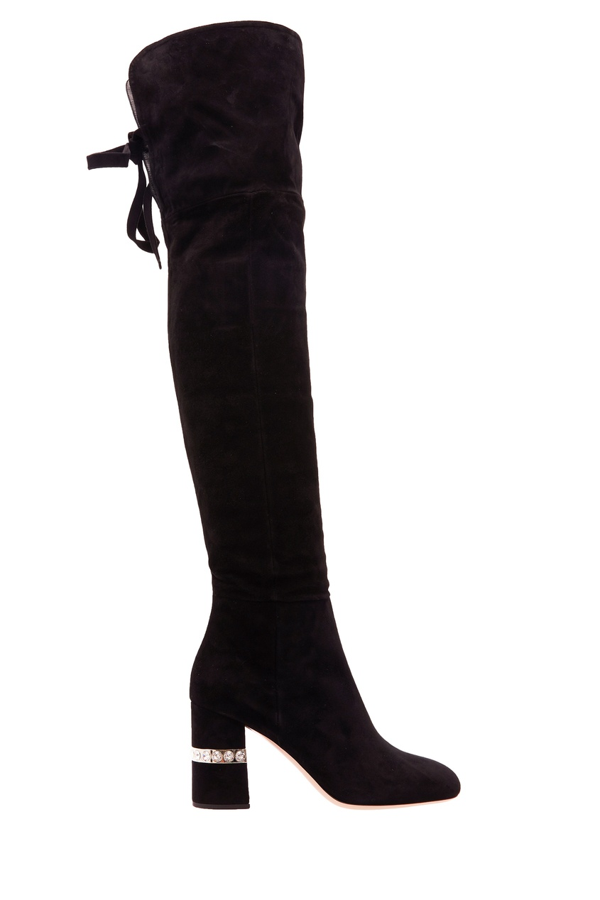 Ботфорты с декором на каблуках Miu Miu