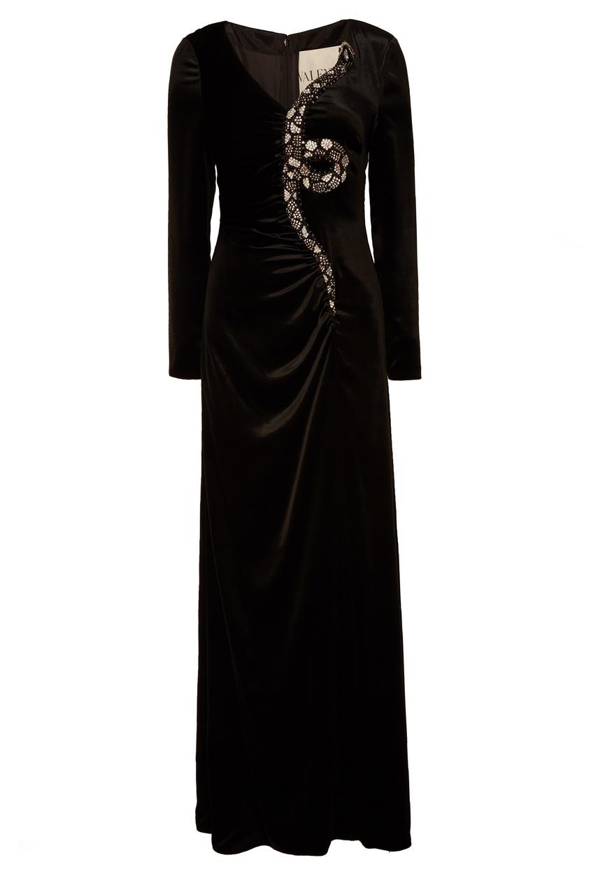 Черное платье со стразами VALENTINO