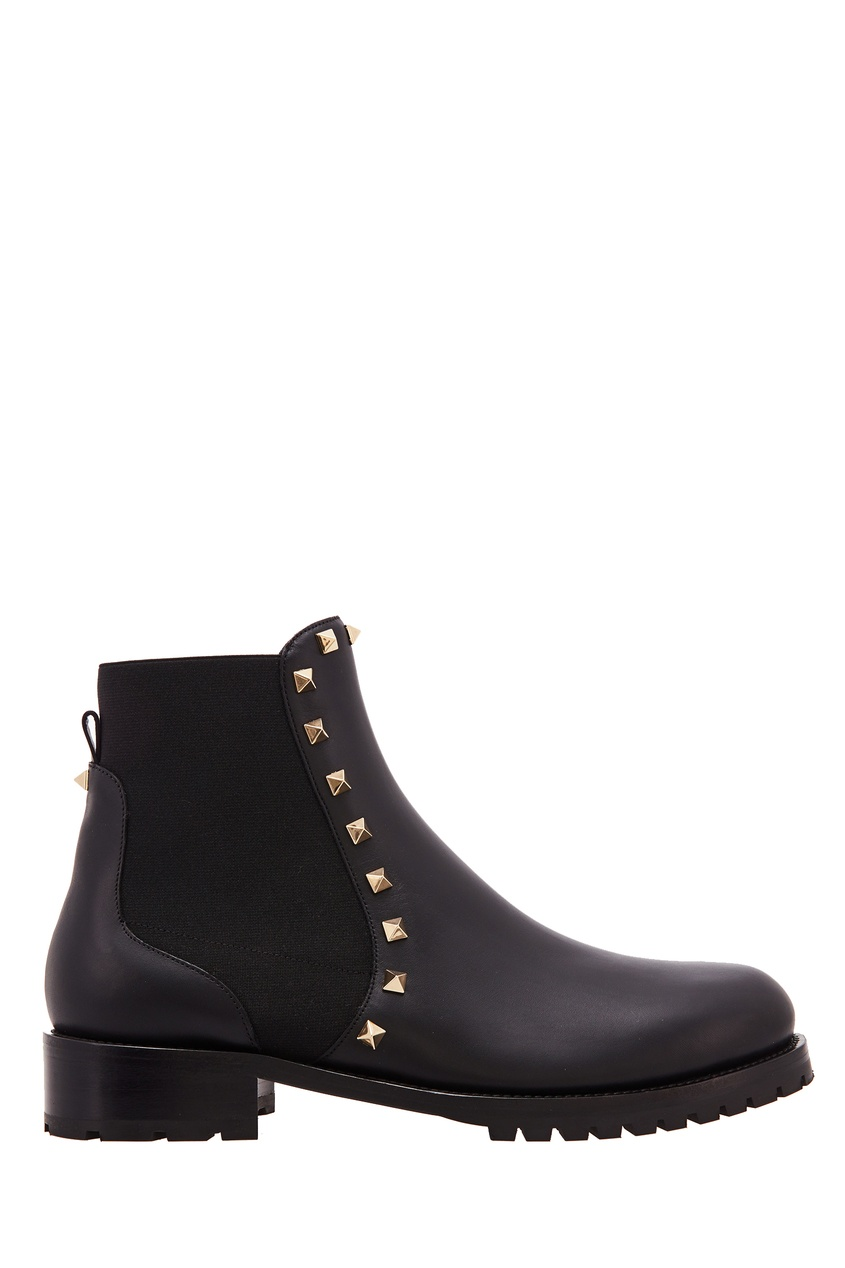Черные кожаные ботинки Valentino Garavani The Rockstud
