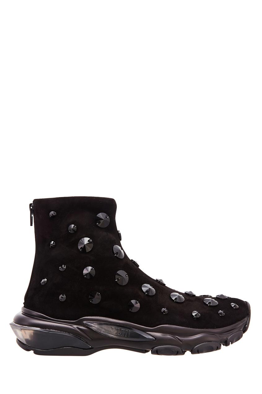 Черные кожаные ботинки со стразами Valentino Garavani