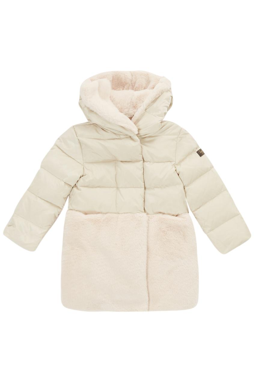 Купить со скидкой Комбинированное бежевое пальто