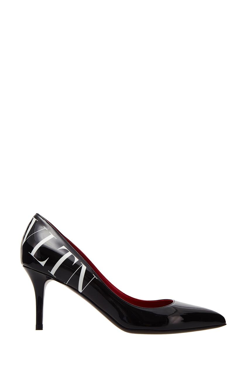 Черные туфли с логотипом VALENTINO