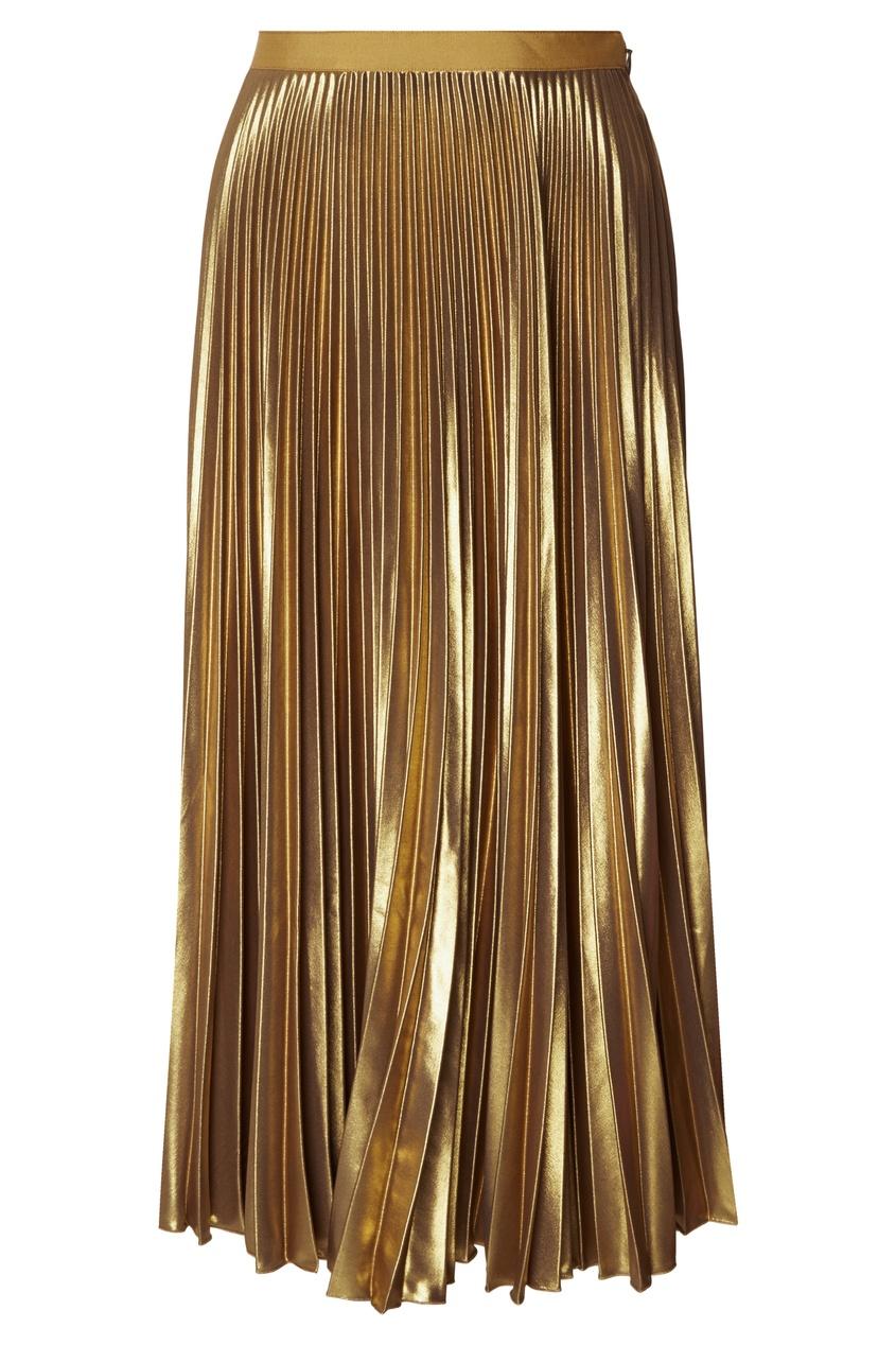 Плиссированная золотистая юбка от Dries Van Noten