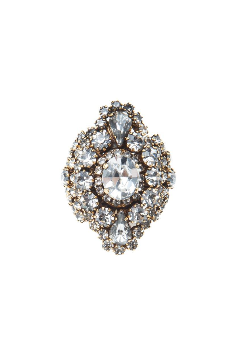 Кольцо из металла и кристаллов