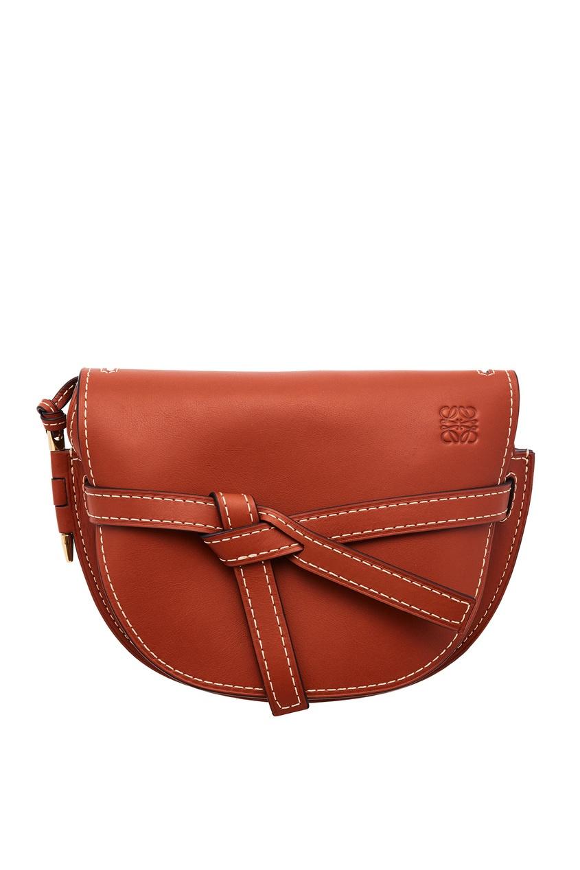 Коричневая кожаная сумка Gate Loewe
