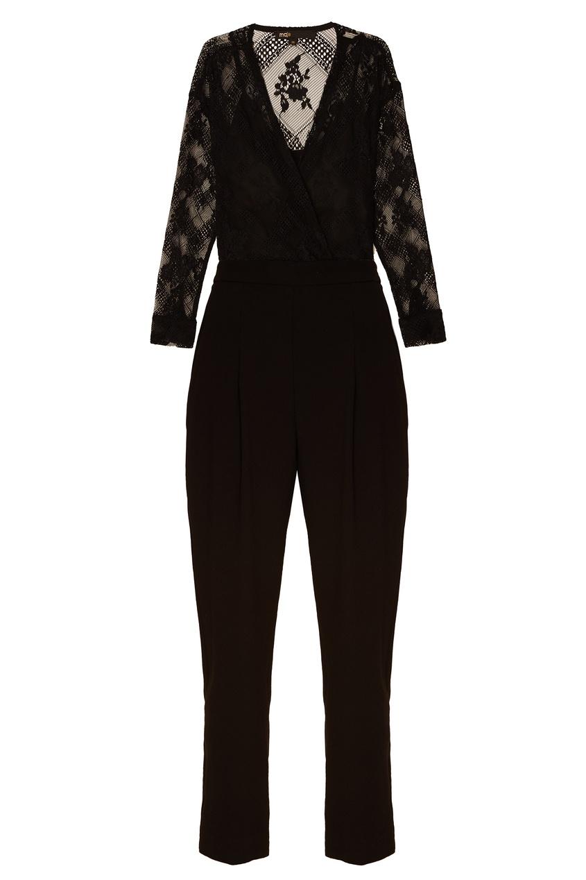 Купить со скидкой Черное платье с кружевом