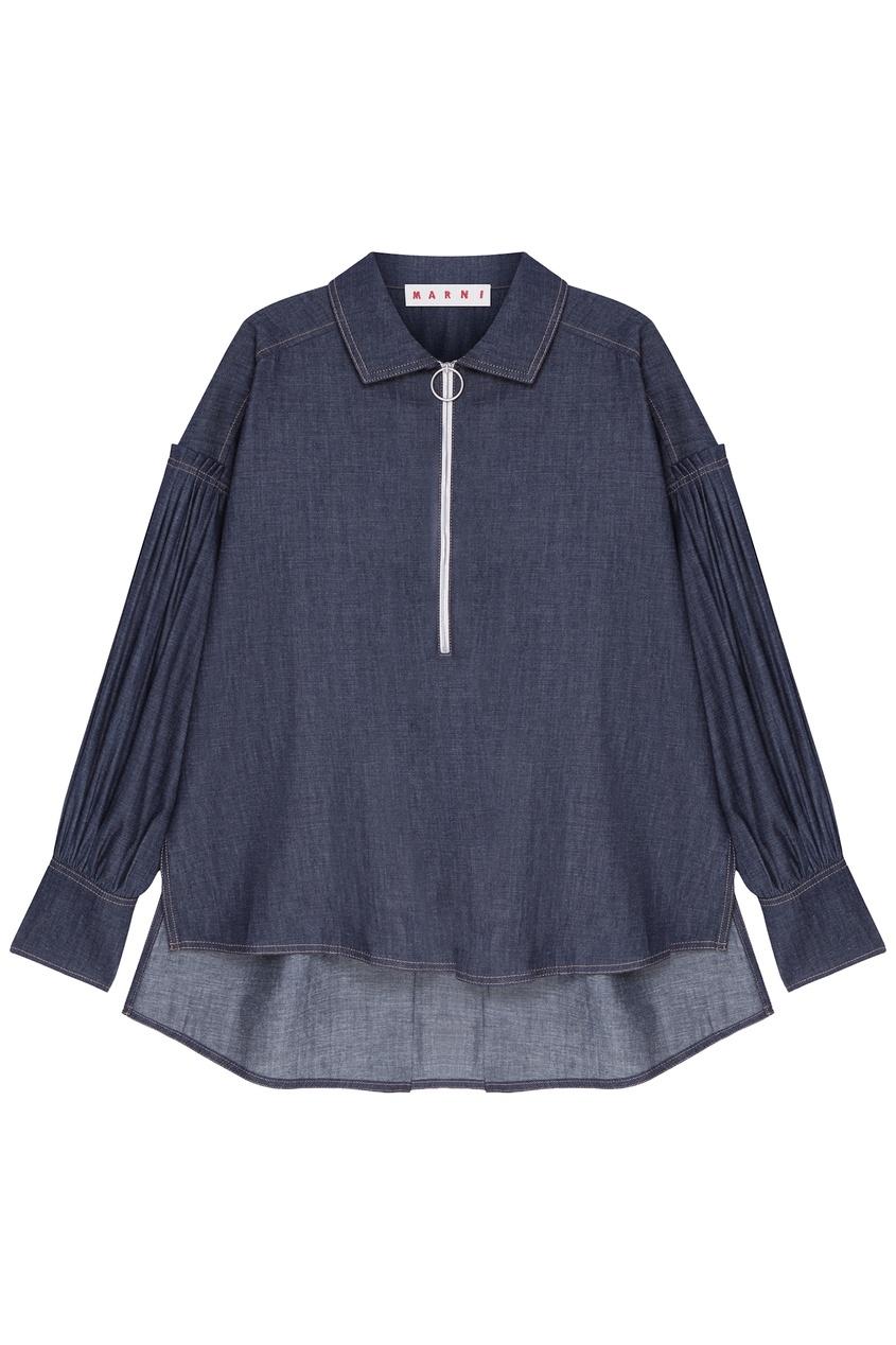 женская блузка marni, синяя