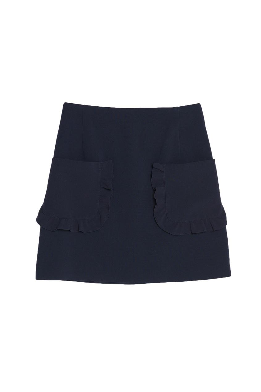 Синяя мини-юбка с рюшами
