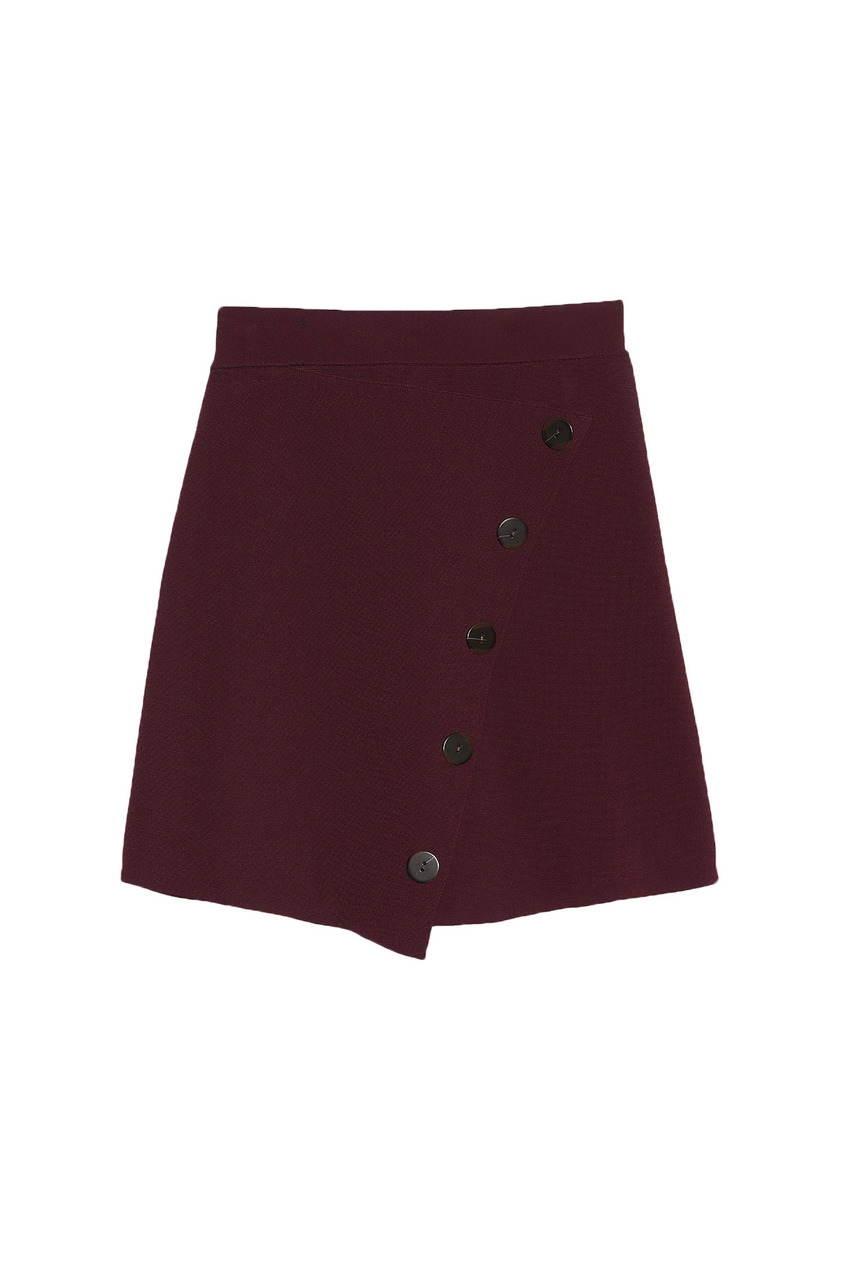 Бордовая мини-юбка на запах