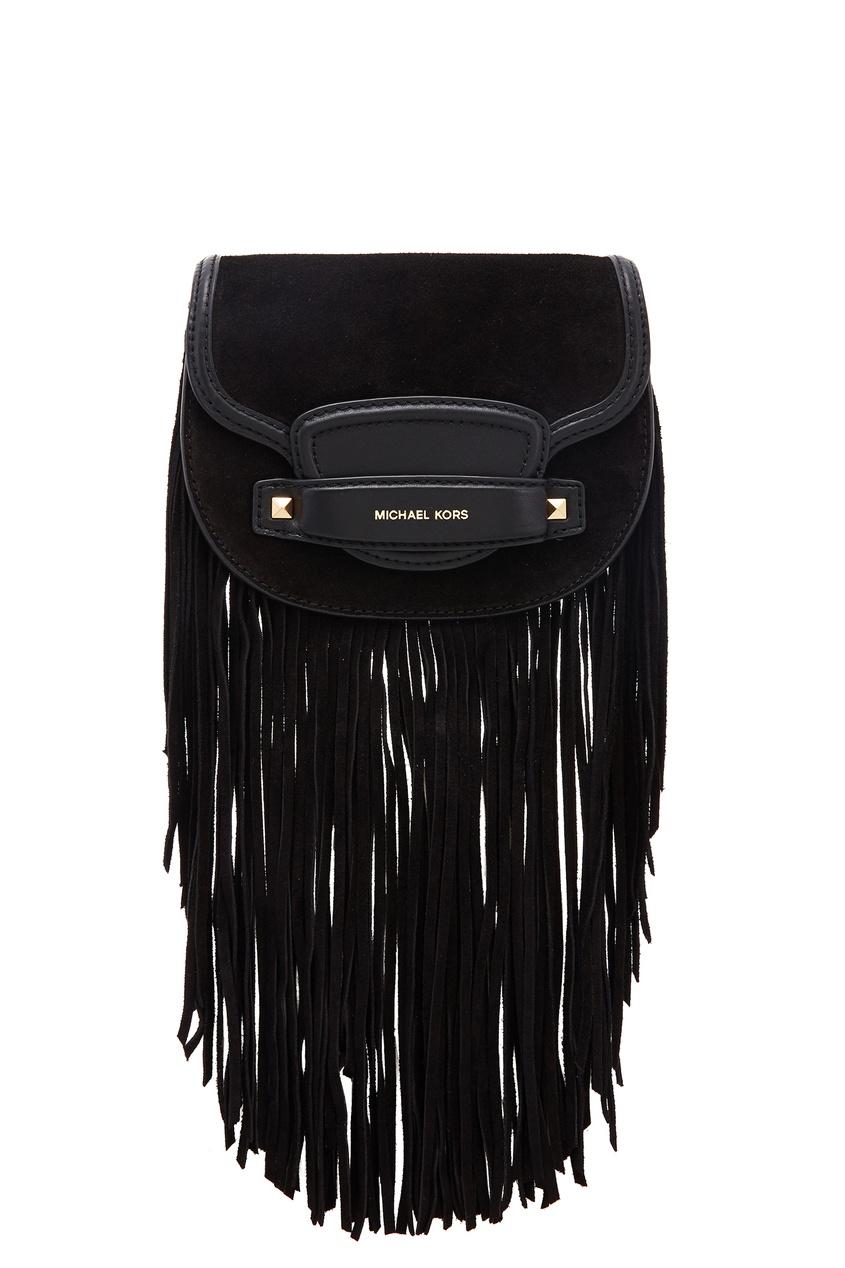 Черная комбинированная сумка с бахромой Cary MICHAEL MICHAEL KORS