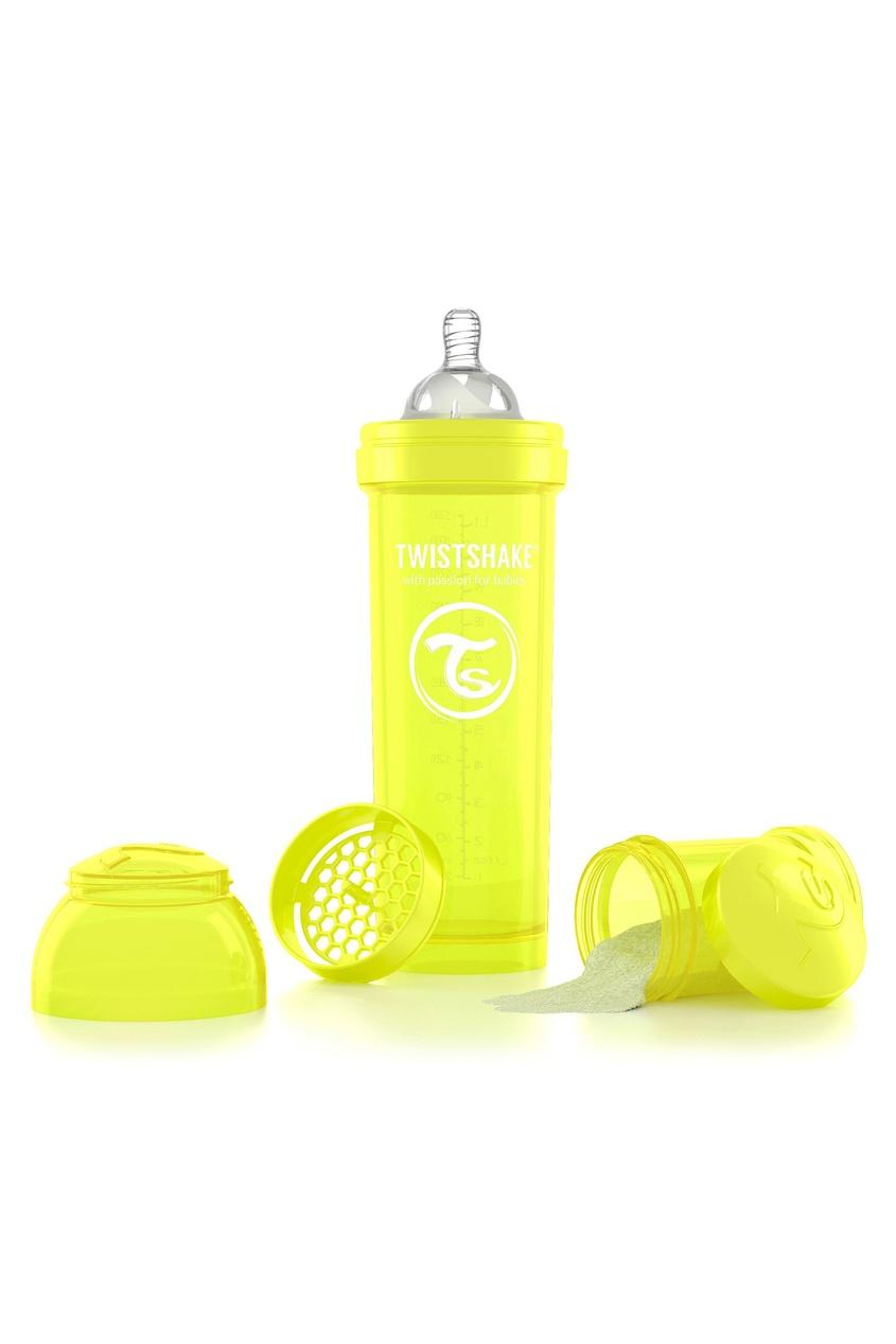 Купить со скидкой Антиколиковая желтая бутылочка Twistshake для кормления, 330 мл