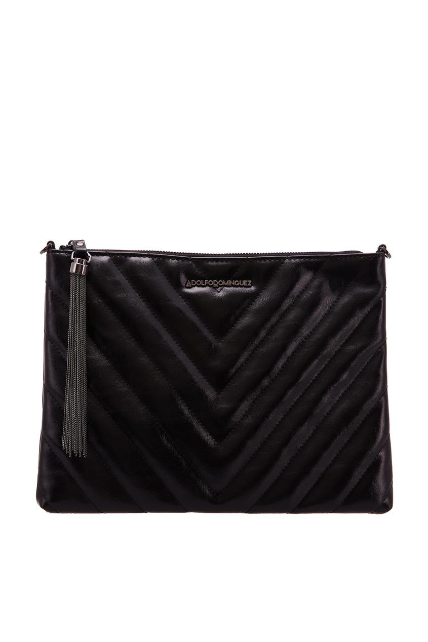 Черная сумка с фактурной отделкой ADOLFO DOMINGUEZ