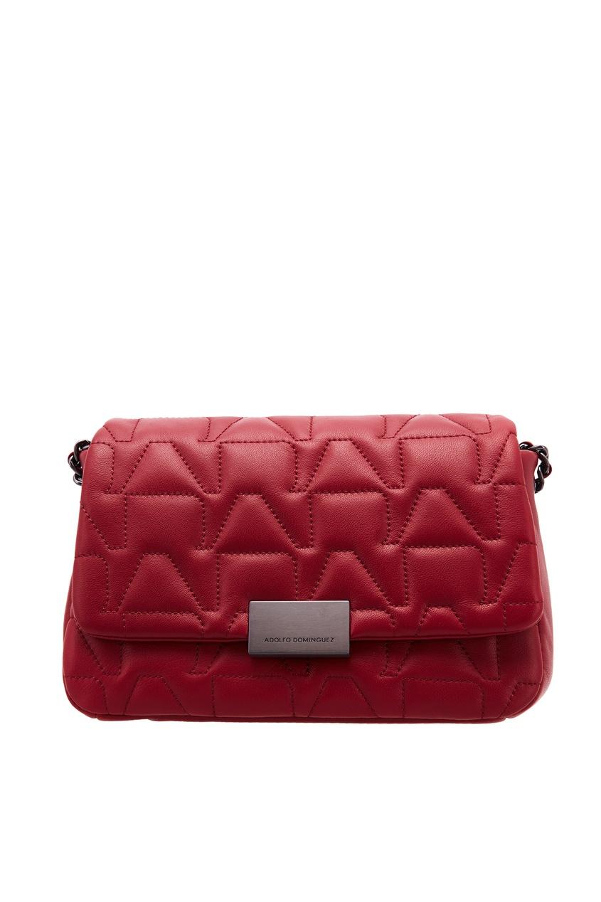 Красная сумка с фактурной отделкой ADOLFO DOMINGUEZ