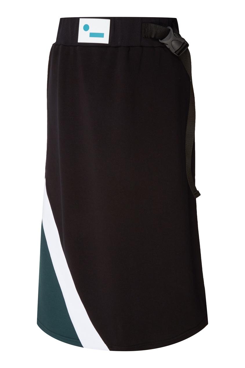 Бирюзово-черная юбка миди mardo._