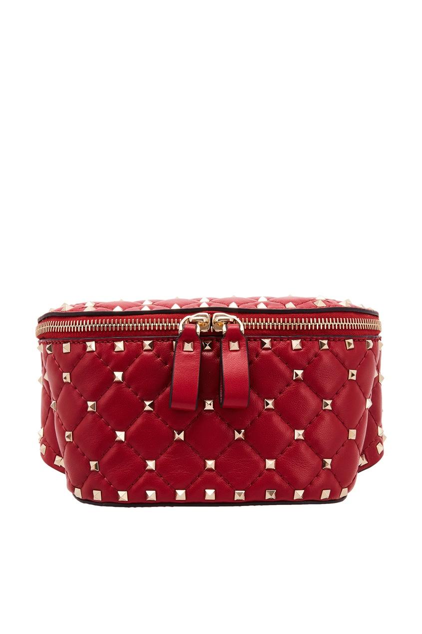 Поясная красная сумка с заклепками Valentino Garavani Rockstud