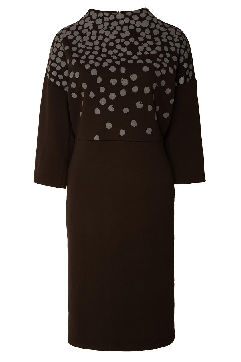 Купить со скидкой Черное платье с контрастным принтом