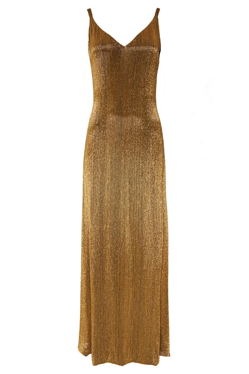 Платье, расшитое золотистым стеклярусом Chapurin