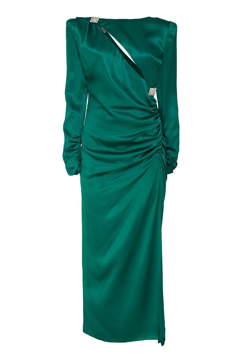 Изумрудно-зеленое шелковое платье Alessandra Rich