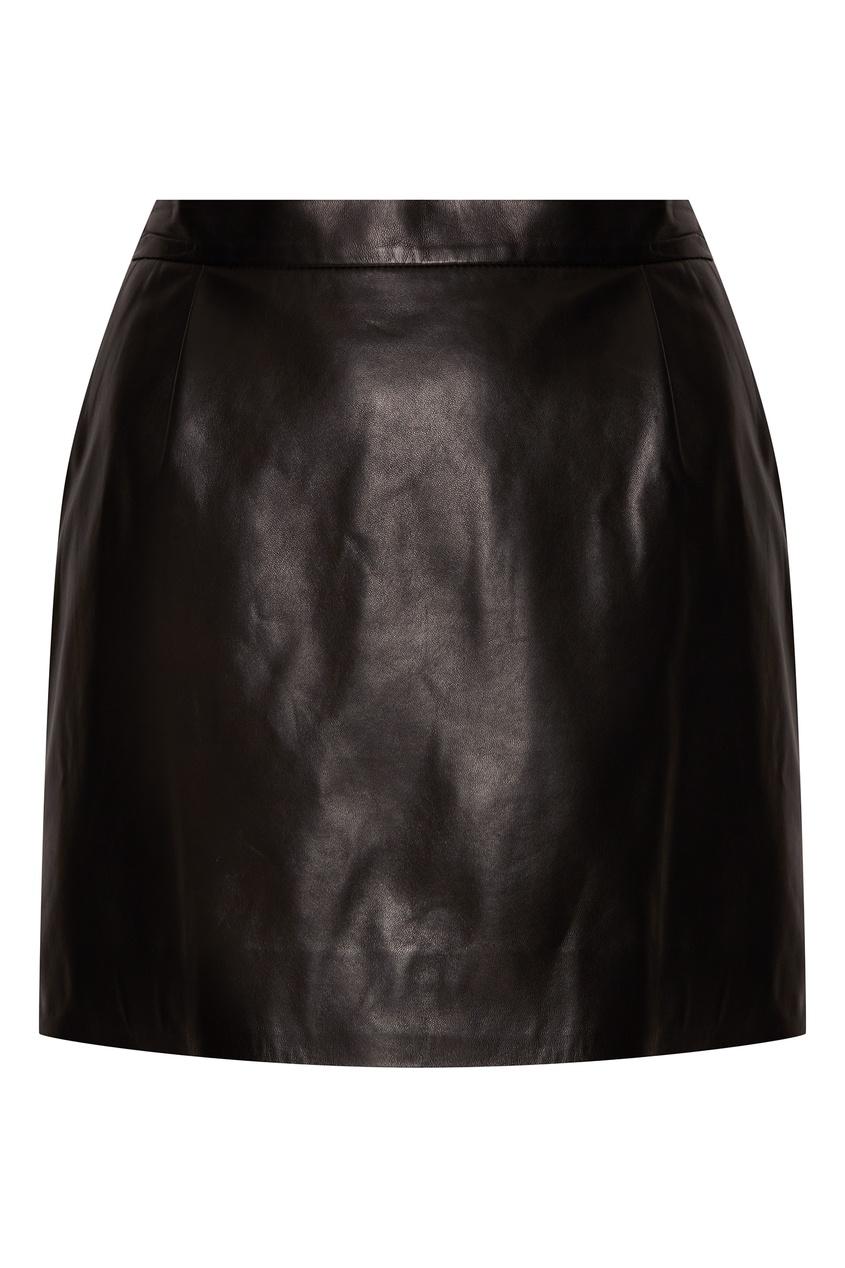 Кожаная мини-юбка