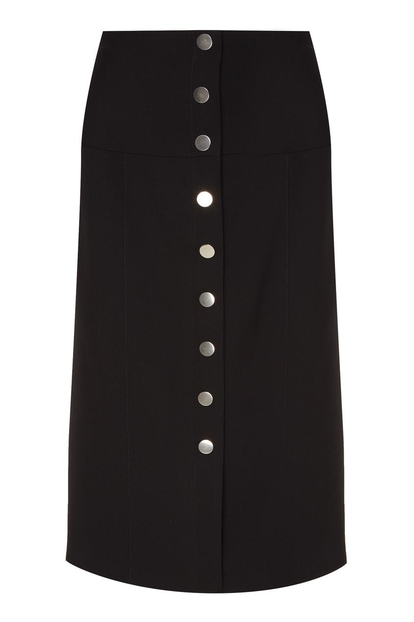 Купить со скидкой Черная юбка-карандаш на пуговицах