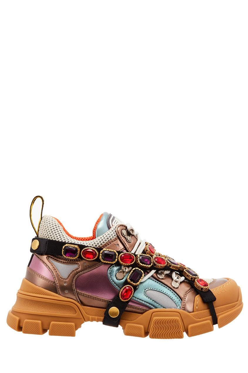 Купить Разноцветные кроссовки Flashtrek со съемной лентой от Gucci бежевого цвета