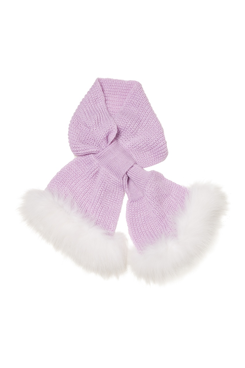 Сиреневый шарф с меховой отделкой KORTA