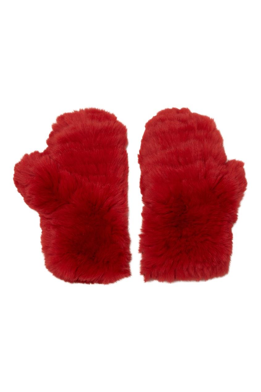 Красные варежки из меха кролика KORTA