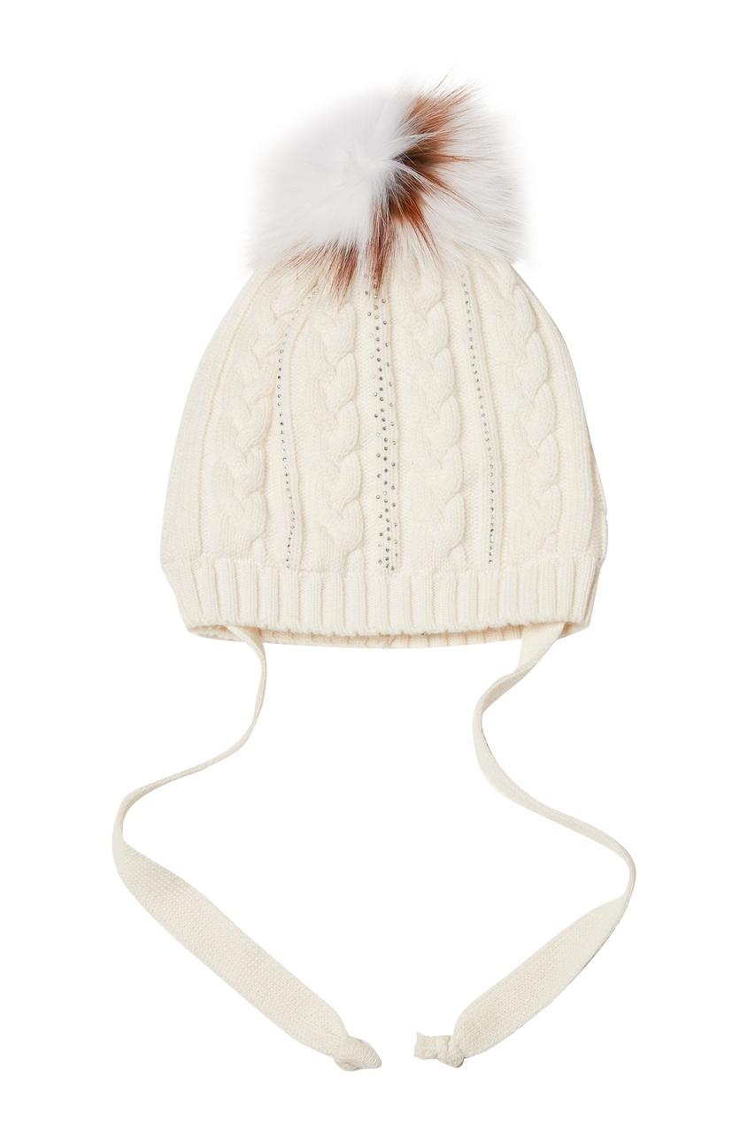 Белая шапка с помпоном KORTA