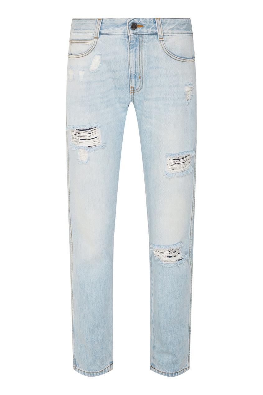 Купить со скидкой Голубые джинсы с прорезями