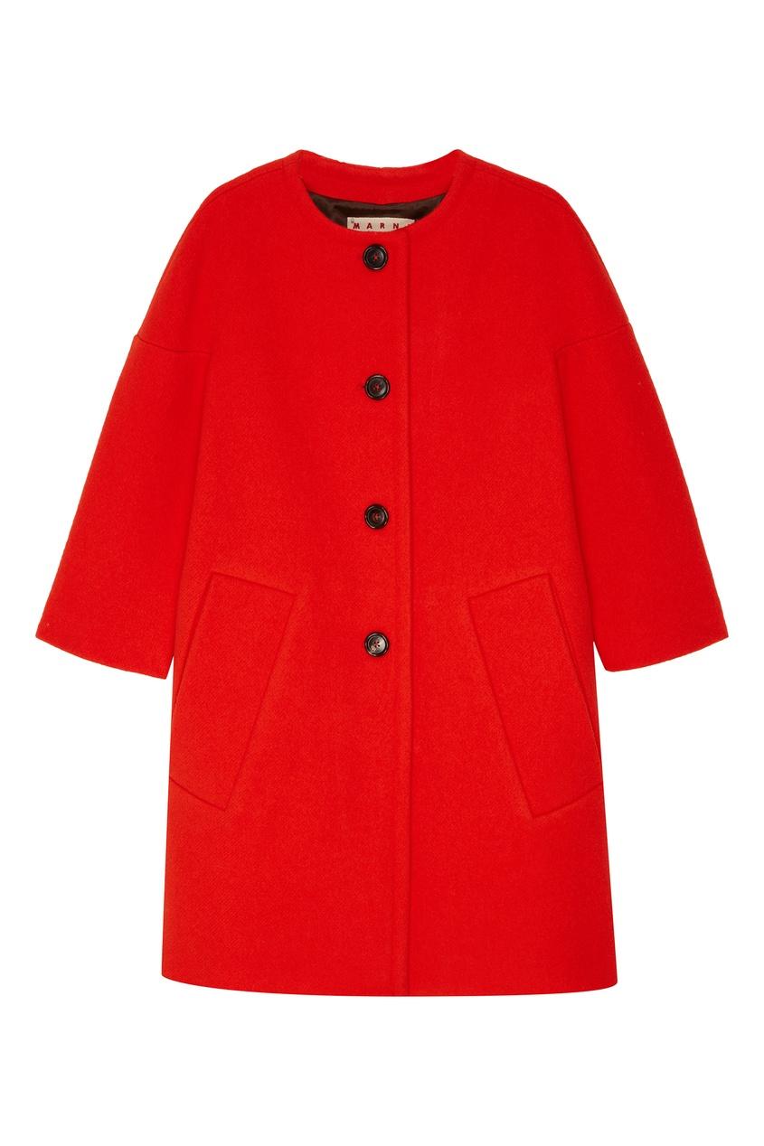 женское пальто marni, красное