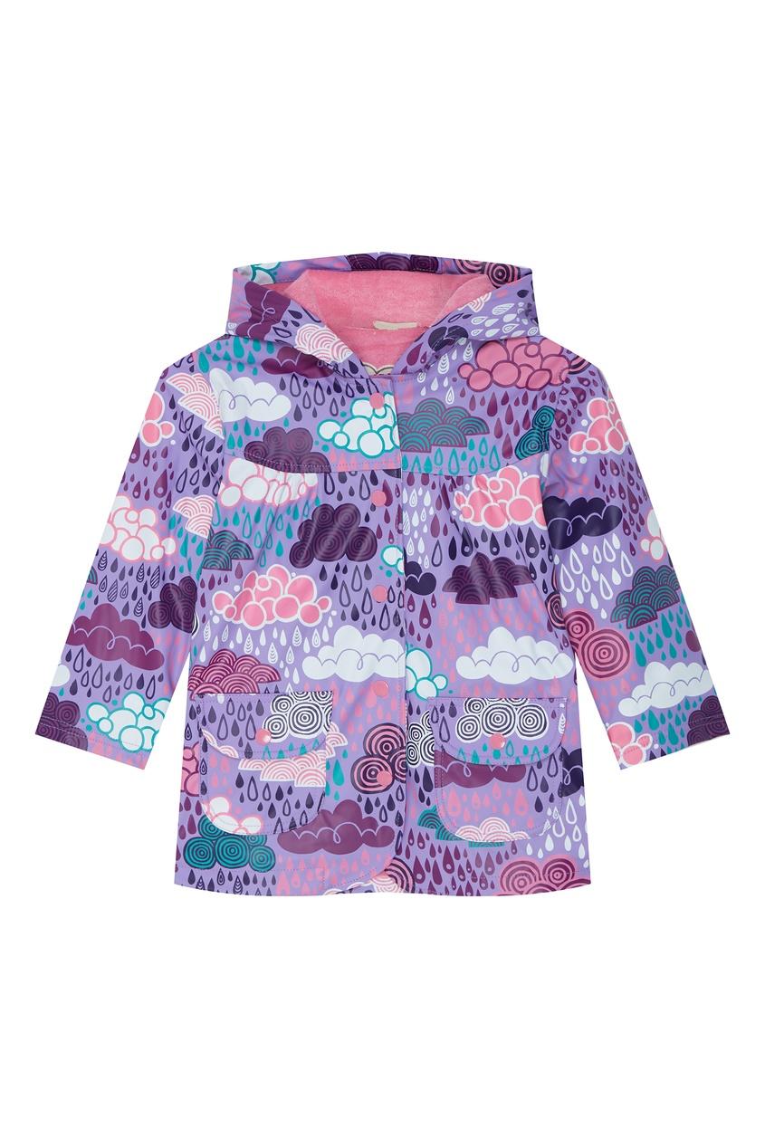Фиолетовый плащ с разноцветным принтом