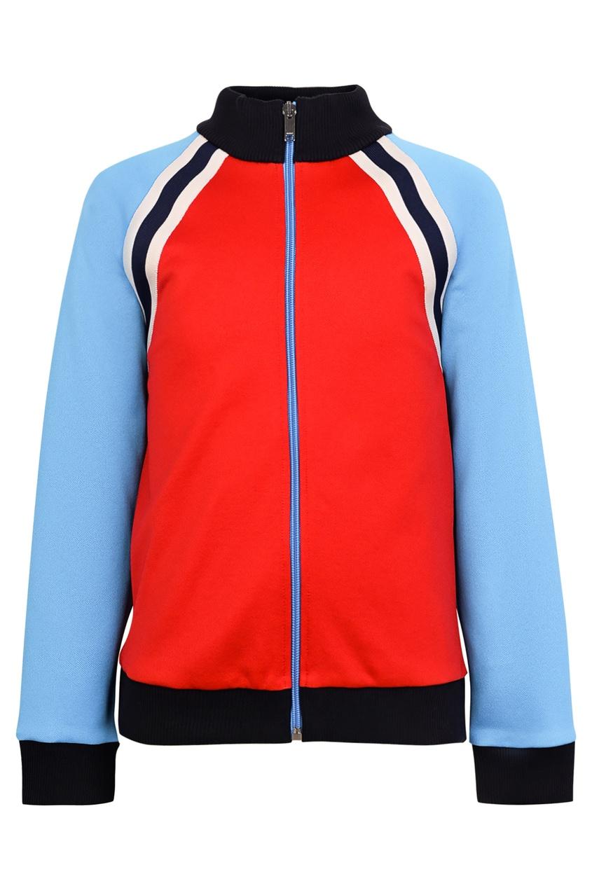 Купить Олимпийка с цветными блоками от Gucci Kids красного цвета