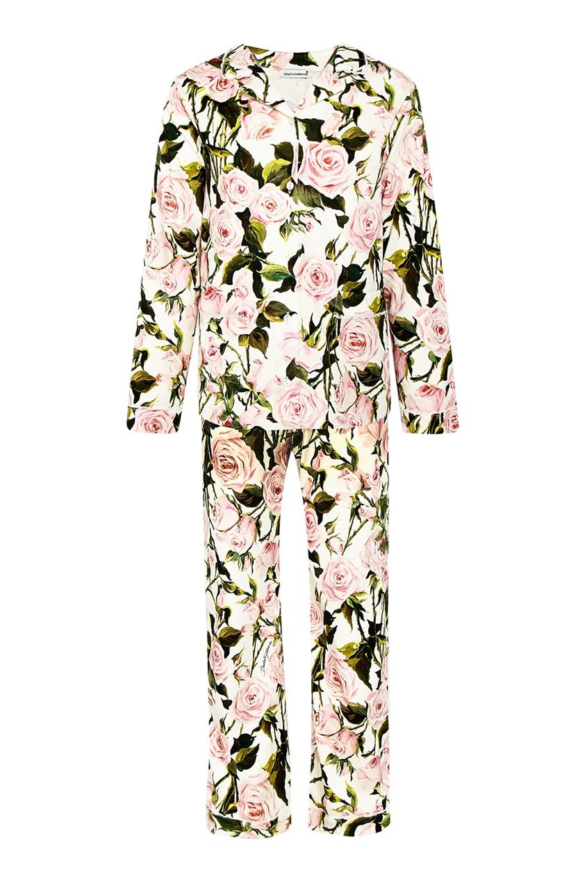 Брючный костюм с цветочным принтом