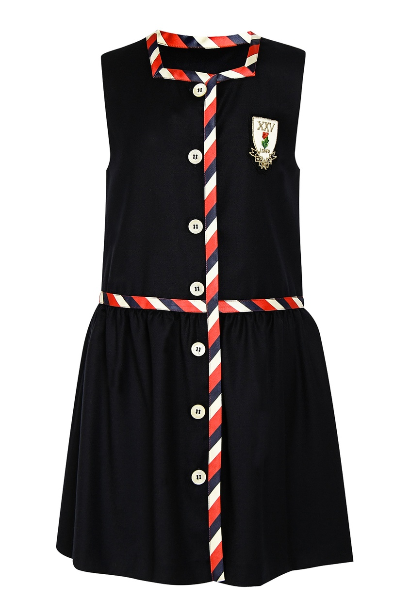 Черное платье с контрастной окантовкой Gucci Kids