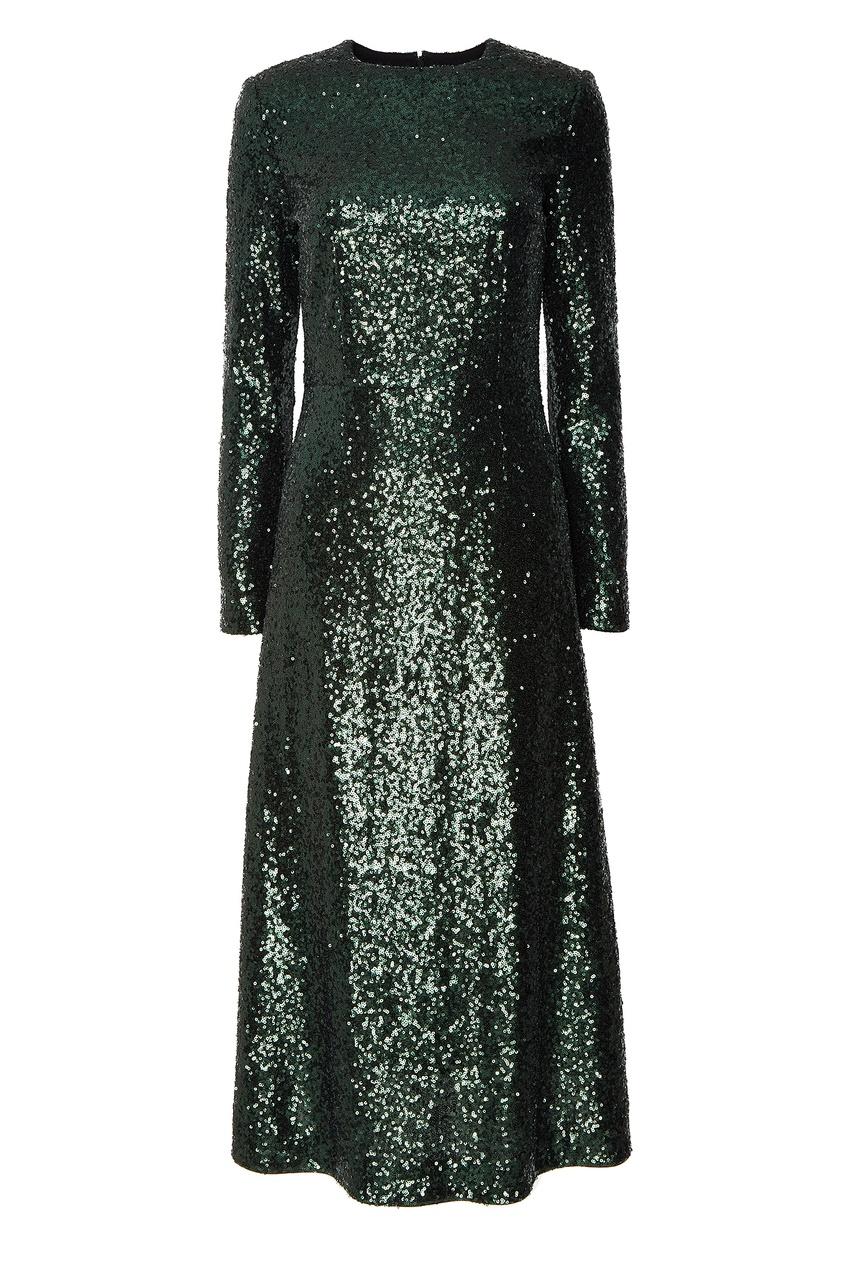Фото #1: Зеленое платье с пайетками