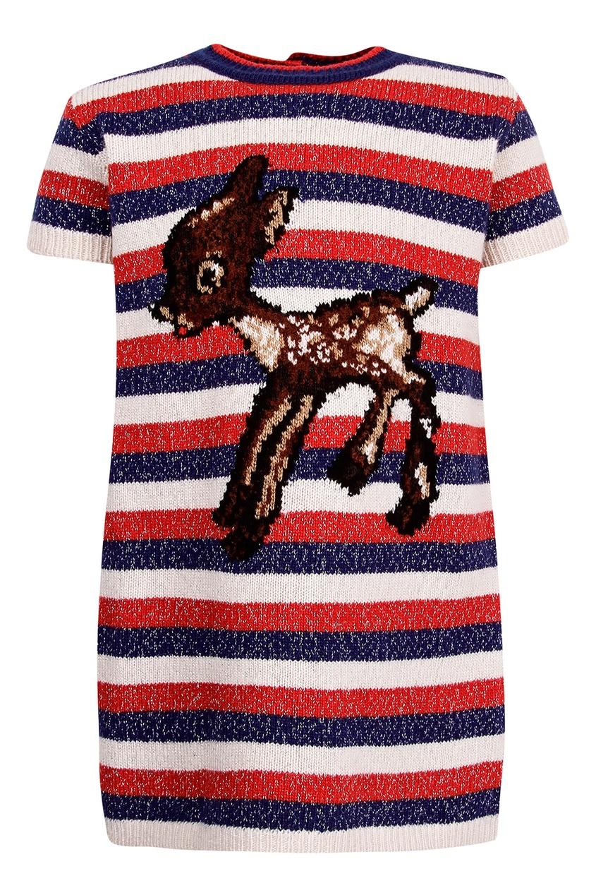 Купить Платье в полоску с рисунком от Gucci Kids цвет multicolor