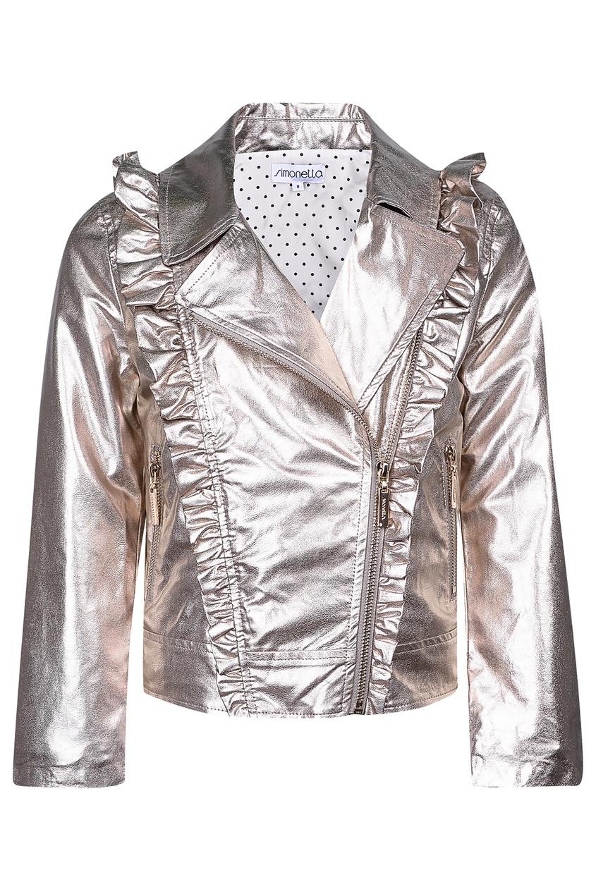 Купить Серебристая куртка с косой молнией золотого цвета
