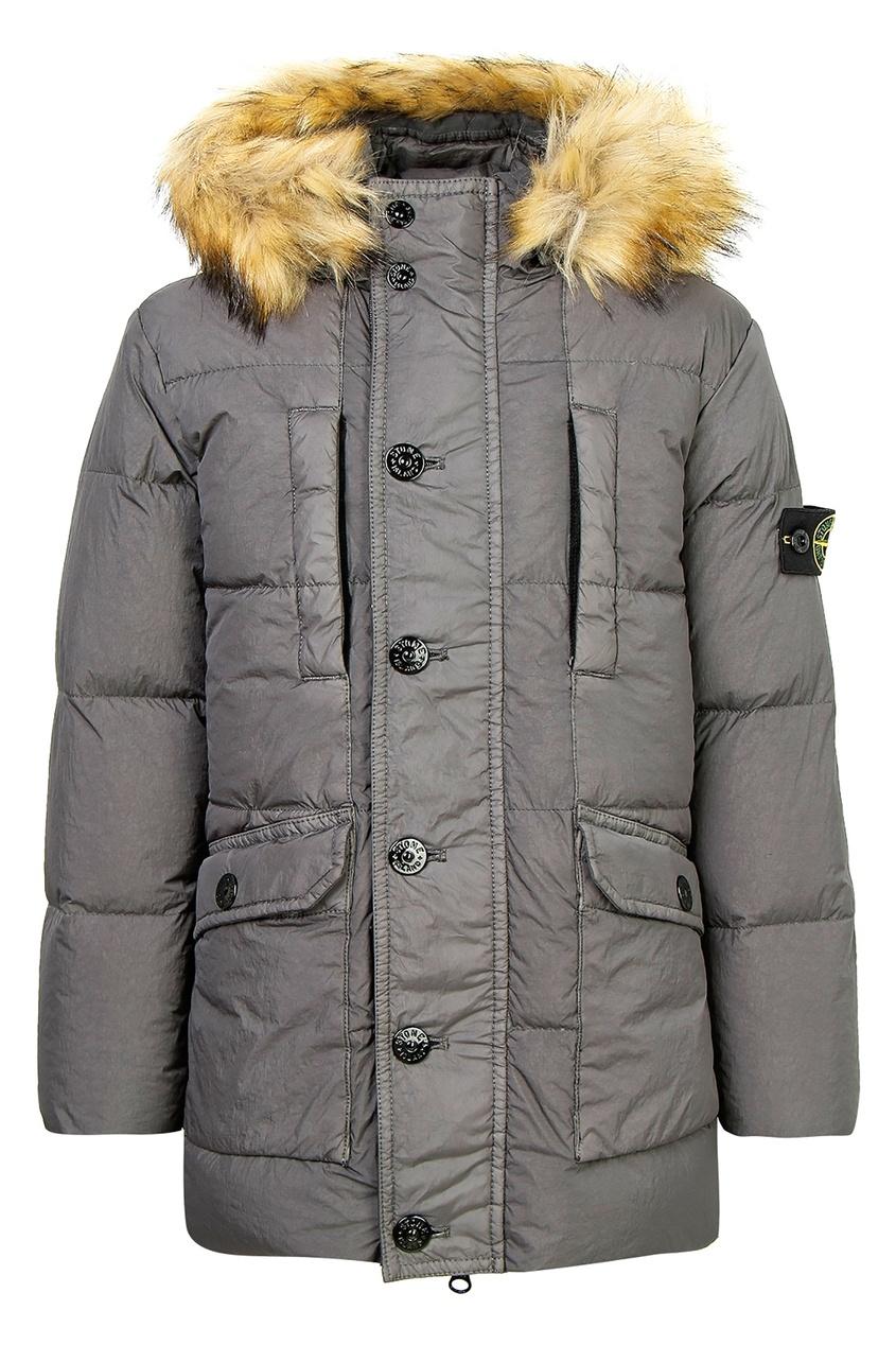 Купить Серая куртка с меховой отделкой от Stone Island Kids серого цвета