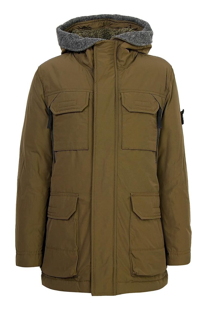 Коричневая куртка с карманами от Stone Island Kids