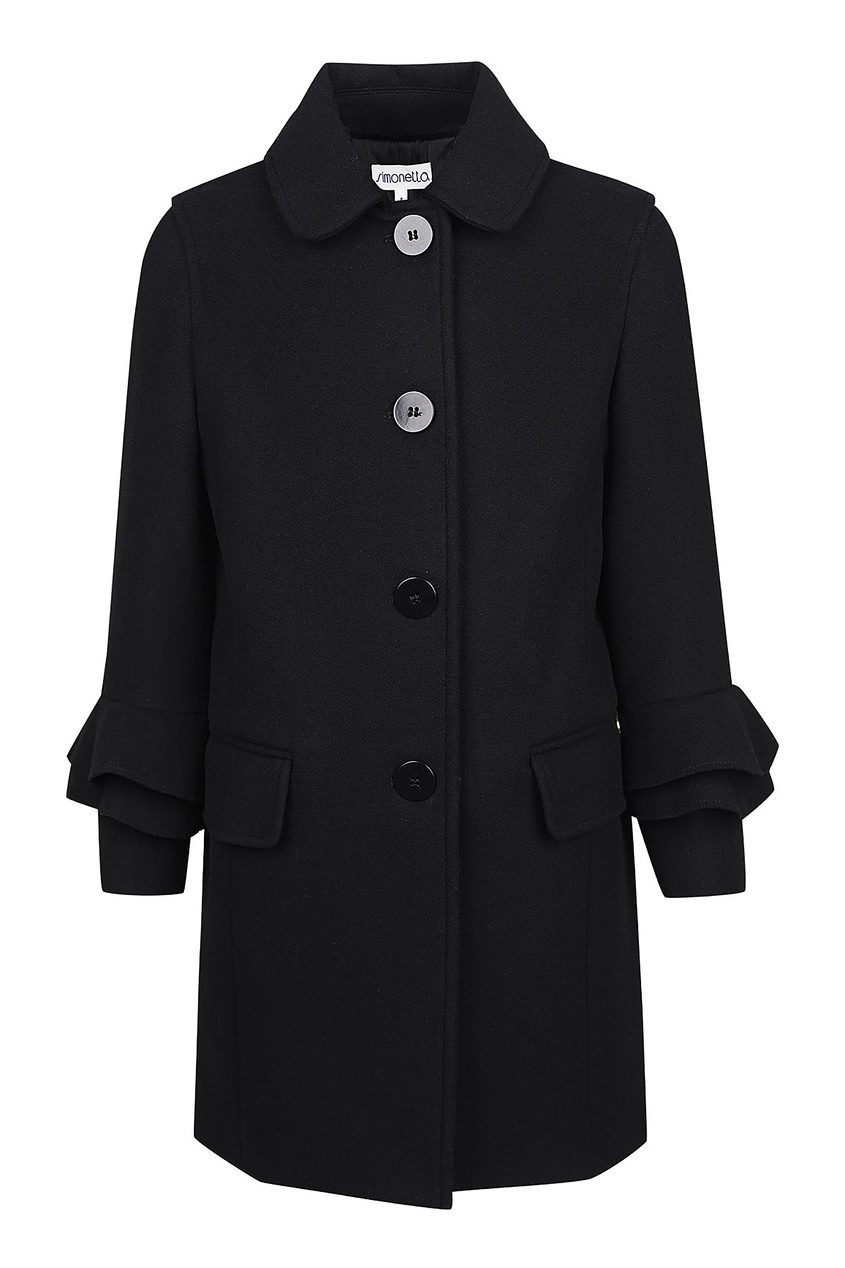 Купить Черное пальто с воланами черного цвета
